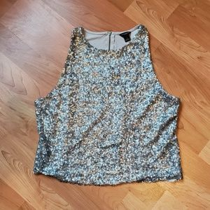Ann Taylor Gray Sequin Tank Top